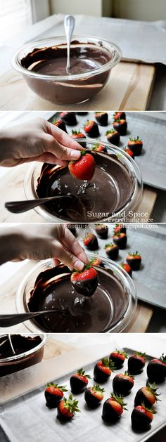 Chocolate Dipped Strawberries [Tutorial] - 7 strawberries dipped in 1 tablespoon dark chocolate, melted Strawberry Dip, Strawberry Recipes, Yummy Treats, Sweet Treats, Yummy Food, Köstliche Desserts, Dessert Recipes, Little Presents, Chocolate Dipped Strawberries