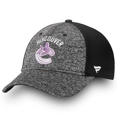 c1a0d650185 Men s Vancouver Canucks Fanatics Branded Heathered Black Black Hockey  Fights Cancer Speed - Flex Hat