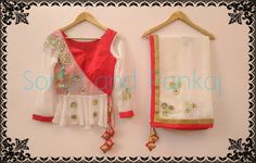 offwhite and  Red ....its deadly combo saree  choli  blouse with  beautiful  gottapatti  Shop from our website sonalandpankaj.com Whatsapp for further details on +919669166763 followme  24 November 2016