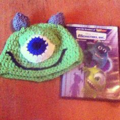 Crocheted Monsters Inc, Mike Wazowski Hat :)