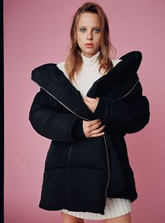 Ecru Cable Knit Dress with high collar and long sleeves + Long Puffer Coat in Black with crossover zip, high collar, inner strap detail, elastic cuffs and side pockets | from Zara