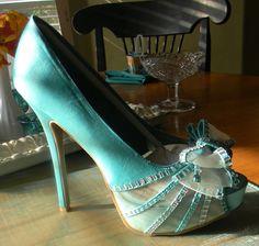 shoes Teal Wedding Shoes, Lace Shoes, Peeps, Peep Toe, High Heels, Wedding Inspiration, Google, Image, Fashion