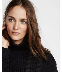 Shaker Knit With Lacing Funnel Neck Sweater