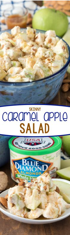Skinny Caramel Apple Salad Recipe - an easy and HEALTHIER version of an apple salad! This recipe uses greek yogurt and almond butter for an easy potluck dish that's better for you!