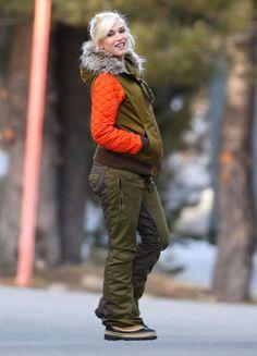 Gwen Stefani wearing Sorel Caribou boots Stella McCartney SQUARED ACETATE SUNGLASSES L.A.M.B. for Burton Bomber Jacket in Olive and Hazard O...