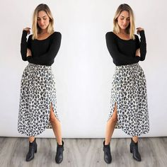 OBSESSED with leopard print Layer up our beautiful Samsara WILD THING Skirt with a cosy scarf denim jacket & boots for a hot winter look Cute Teacher Outfits, Teaching Outfits, Teacher Style, Cute Outfits, Teacher Clothes, Casual Work Outfits, Professional Outfits, Modest Outfits, Fall Outfits