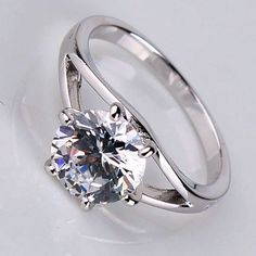 2.0CT Perfect Round Diamond Cut Russian Lab Diamond 18K White Gold Engagement Ring Size 5, 6, 7, 8, 9