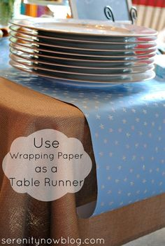 Use Wrapping Paper as a Table Runner. Christmas Baby Shower, Christmas Brunch, Christmas Dishes, Brunch Baby Showers, Boy Baby Showers, Burlap Baby Showers, Planning A Baby Shower, Budget Baby Shower, Simple Baby Shower