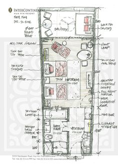 Studio Apartment Layout, Apartment Design, Architectural Floor Plans, Architectural Drawings, Hotel Room Design, Hotel Guest, Apartment Plans, Hand Sketch, Room Planning