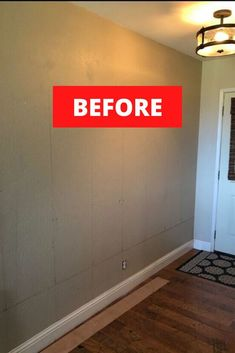 Are you decorating on a budget? check out this Joanna Gaines shiplap wall inspired before and after entrance wall makeover idea. This white shiplap wall is budget friendly and is easier than you think to put up. #diy #entryway #makeover