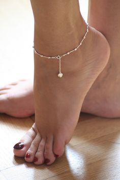 Feminine delicate ankle bracelet Stirling by OurSerendipityStones $18