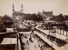Pineapple Street, Hyderabad; Lala Deen Dayal (Indian, 1844 - 1905); India; 1888; Gelatin silver print; 20.8 x 27.5 cm (8 3/16 x 10 13/16 in.); 2008.78.2; Gift in memory of Marie McNabola and Irene Peters; J. Paul Getty Museum, Los Angeles, California