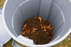 """DIY Compost- Get trashcan with lid and bungie cords.  Drill 10-15 holes on each of the 4 """"sides"""".  Add soil, grass clippings, organic waste. Place on lid and bungie, roll around yard to mix! :-)"""