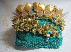 Lady of Pearls & Spikes Art Piece Cuff bracelet One of a Kind by Lynn Parpard  It could be yours !
