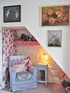 .Have some shelves in the underside of the stairs to hold books and albums. Install a wall sconce to use as a reading light and night light for nightime use of stairs.