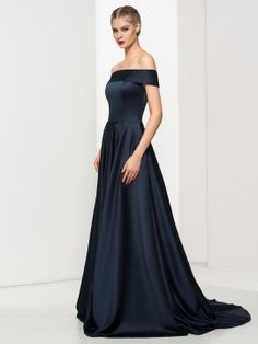 Off-the-Shoulder A-Line Ruched Sweep Train Evening Dress