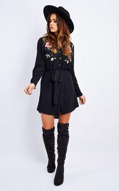 Embroidery Shirt Dress