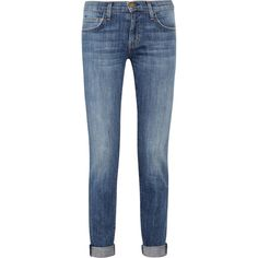 Current/Elliott The Rolled stretch-denim skinny jeans ($99) ❤ liked on Polyvore