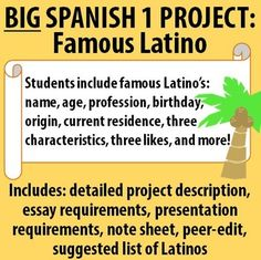 $ Spanish 1 - BIG Project! Famous Latino. Includes project description, essay and presentation requirements, note sheet for research, peer-editing activity and a suggested list of Latinos.