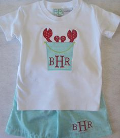Can't beat a crab applique on our boys short sleeve embroidery blanks and.... with monogrammed boys swimsuit blank!