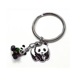 Key Chain with Pandas Charm Qty1 by PerpetualRevolution on Etsy