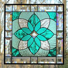 Stained Glass Beveled Hanging Panel Teal Sea by LivingGlassArt, $125.00