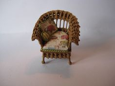 Quarter scale miniature wicker chair by CherylHubbardMinis on Etsy Cheryl, Wicker, Scale, Miniatures, Chair, Handmade, Etsy, Home Decor, Rattan
