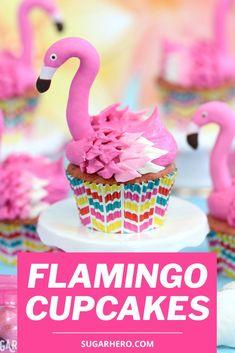 Flamingo Cupcakes are super-cute pink lemonade cupcakes that look like flamingos! Easy and fun to make. #sugarhero #cupcakes #kidsbaking #flamingos Pink Lemonade Cupcakes, Flamingo Cupcakes, Cupcake Videos, Baking With Kids, Summer Birthday, Pink Flamingos, Cute Pink, Luau, Tea Time