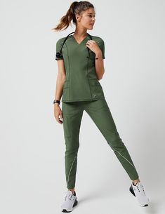 Charge Cargo Drawcord Pant in Army Green - Medical Scrubs by Jaanuu Dental Scrubs, Nursing Scrubs, Cute Medical Scrubs, Scrub Suit Design, Stylish Scrubs, Fashionable Scrubs, Jaanuu Scrubs, Doctor Scrubs, Scrubs Outfit