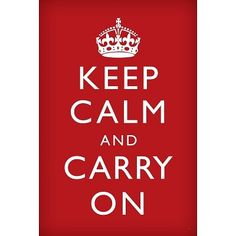 Keep Calm and Carry On (Motivational, Red) Art Poster Print - 24x36 $2.20