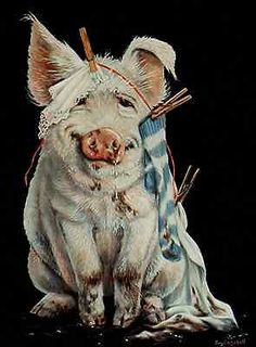 Pig piggie w/ clothes line ACEO print from original pastel by Joy Campbell