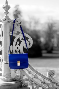 The new addition to my closet, a Celine bag in a bright royal blue. Never thought it would go with so many things! Love it. Photo by Lina Bessonova