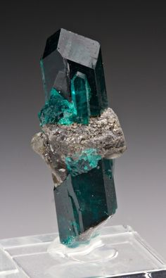Dioptase with Cerussite from Nambia by Dan Weinfich
