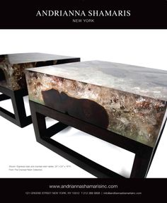 THE TEAK AND CRACKED RESIN COLLECTION | #modernfurniture #sidetables #lowtables #endtables #stools http://andriannashamarisinc.com/product-collection/cracked-resin