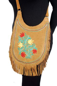 Leather Bag w/ Fringes Crossbody Messenger Embroidered by Coisas4u