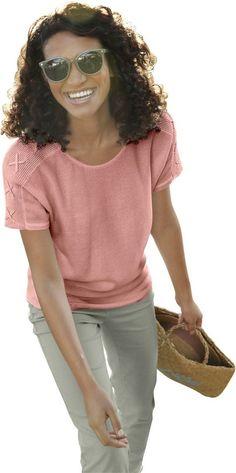 Collection L. Pullover mit überschnittenen Schultern ab 29,99€. Auf links gestrickter Pullover, Baumwolle, Polyacryl, Figurumschmeichelnde Form, Kurzarm bei OTTO