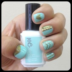 Turquoise and Gold  gel manicure  Essie