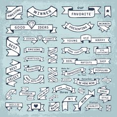 Hand drawn banners in a crafty DIY style. Fun and cute banner shapes. These hand made vector elements are slightly messy so that they look like a hand drawn doodle or sketch, but not too messy. Various different banner and ribbons with plenty of roo