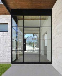 Steel/glass Door Entry with custom side panel and field welded corner Cl Design, Door Design, House Design, Modern Exterior, Exterior Design, Interior And Exterior, Glass Front Door, Glass Door, Glass Garage Door