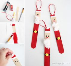 It's Megan again from Homemade Ginger and I'm excited to share another fun ornament with you all today. These popsicle stick santas are absolutely adorable and a little addictive to make! Do crafts Popsicle Stick Santas (one little project Popsicle Stick Christmas Crafts, Christmas Ornament Crafts, Popsicle Sticks, Christmas Crafts For Kids, Craft Stick Crafts, Kids Christmas, Holiday Crafts, Fun Crafts, Santa Ornaments