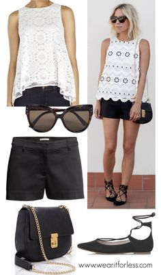 Jacey Duprie from Damsel in Dior in a sleeveless white top and black shorts - get the look for less! www.wearitforless.com