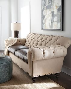 """""""Landry"""" Sofa by Old Hickory Tannery at Horchow.    fabric and leather - interesting combo for downstairs lounge area"""