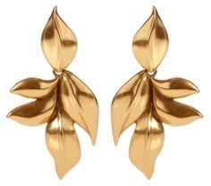 Oscar de la Renta gold leaf clip earrings. Debuted Jul 2016. Click for more info