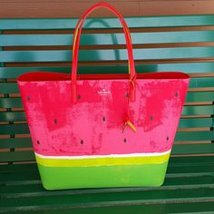 """Kate Spade Watermelon Tote 14"""" x 12"""" leather tote with card slot on back side and two inner pockets on inside kate spade Bags Totes"""