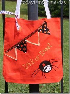#halloween treat bags - stencils, bunting, ruffles