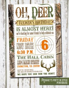 Hunting Theme - Birthday Invitation via Etsy @Mary Powers Soto for Jayce even though he's not even born yet!