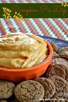 Don't have time to make a pumpkin pie?  How about this easy pumpkin pie dip served with store bought gingersnap cookies! #pumpkin #recipes #fall #dessert #ladybehindthecurtain