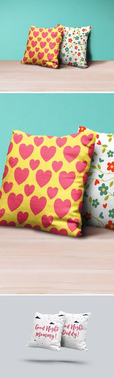 Square Pillows Mockup PSD
