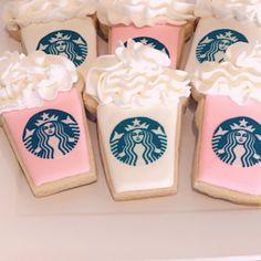 Starbucks Cookies | Etsy Starbucks Cake Pops, Starbucks Cookies, Pink Starbucks, Fall Cookies, Iced Cookies, Royal Icing Cookies, Sugar Cookies, Pink Birthday Cakes, Birthday Cookies