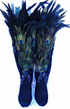 Kicking Kicks!!!!  Peacock Feather Fairy Nymph Costume Knee High BOOTS by sajeeladesign, $119.95
